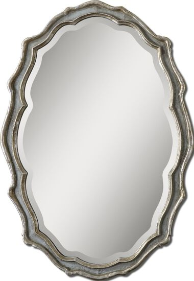 40'' Scalloped Accent Mirror in Light Gray