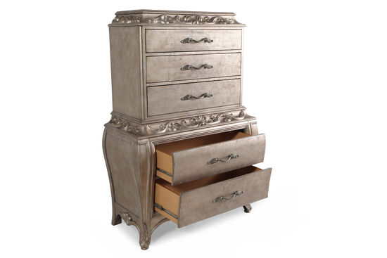 "64"" Contemporary Leaf-Carved Drawer Chest in Soft Platinum"