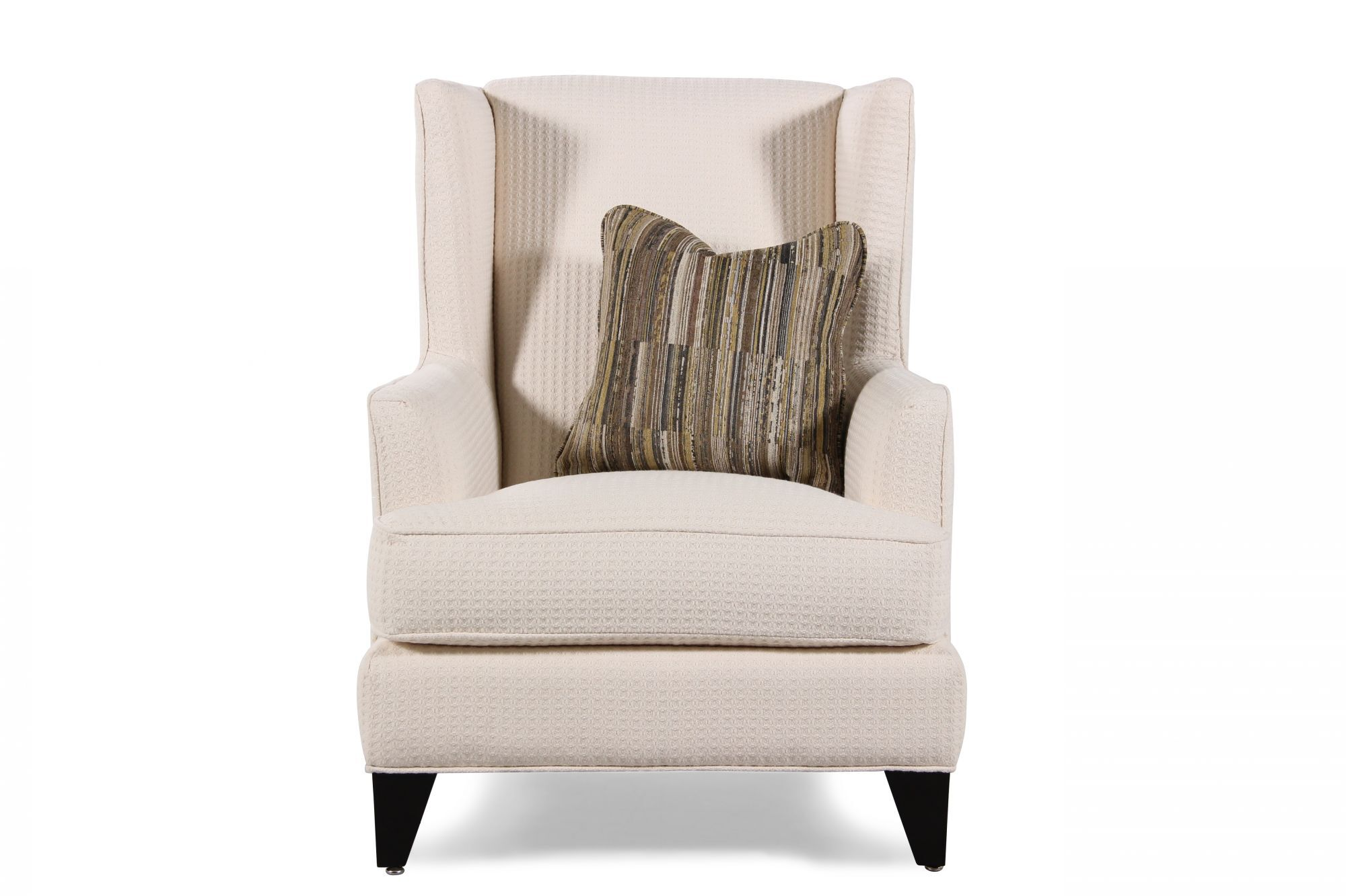 Textured Contemporary Wing Chair In Cream ...