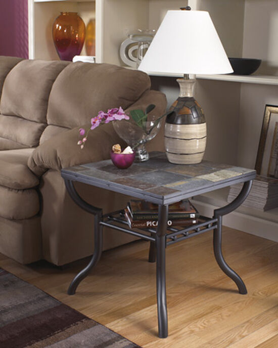 Contemporary Slate Tile Top End Table in Gunmetal