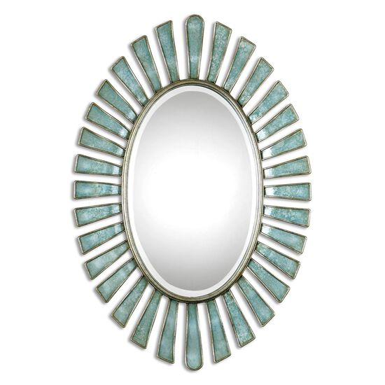 "27"" Scalloped Frame Oval Mirror in Blue Gray"