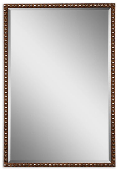 "32"" Studded Accent Mirror in Distressed Rusty Brown"