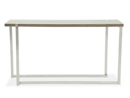 L-Shaped Base Transitional Sofa Table in Gray