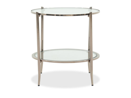 Glass-Top Modern End Table in Blush