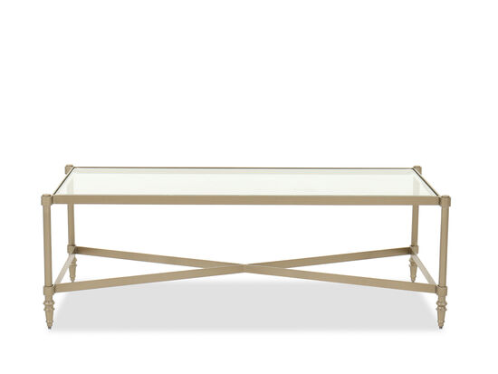 Contemporary Glass Top Cocktail Table in Gold