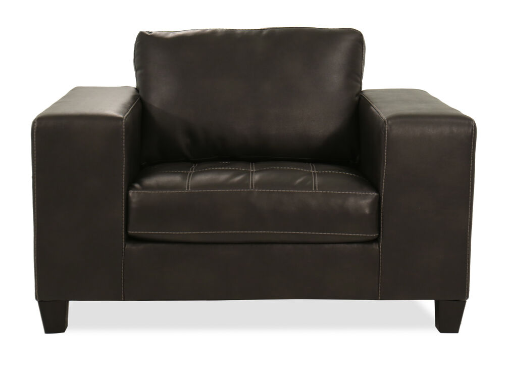 Contemporary 54 Oversized Leather Chair A Half In Charcoal Gray