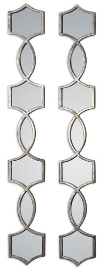 44.5'' Two-Piece Hand Forged Frame Accent Mirror Set in Oxidized Silver
