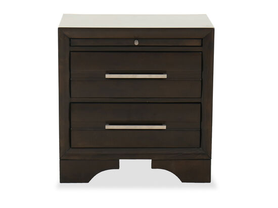 """25"""" Two-Drawer Contemporary Nightstand in Dark Brown"""