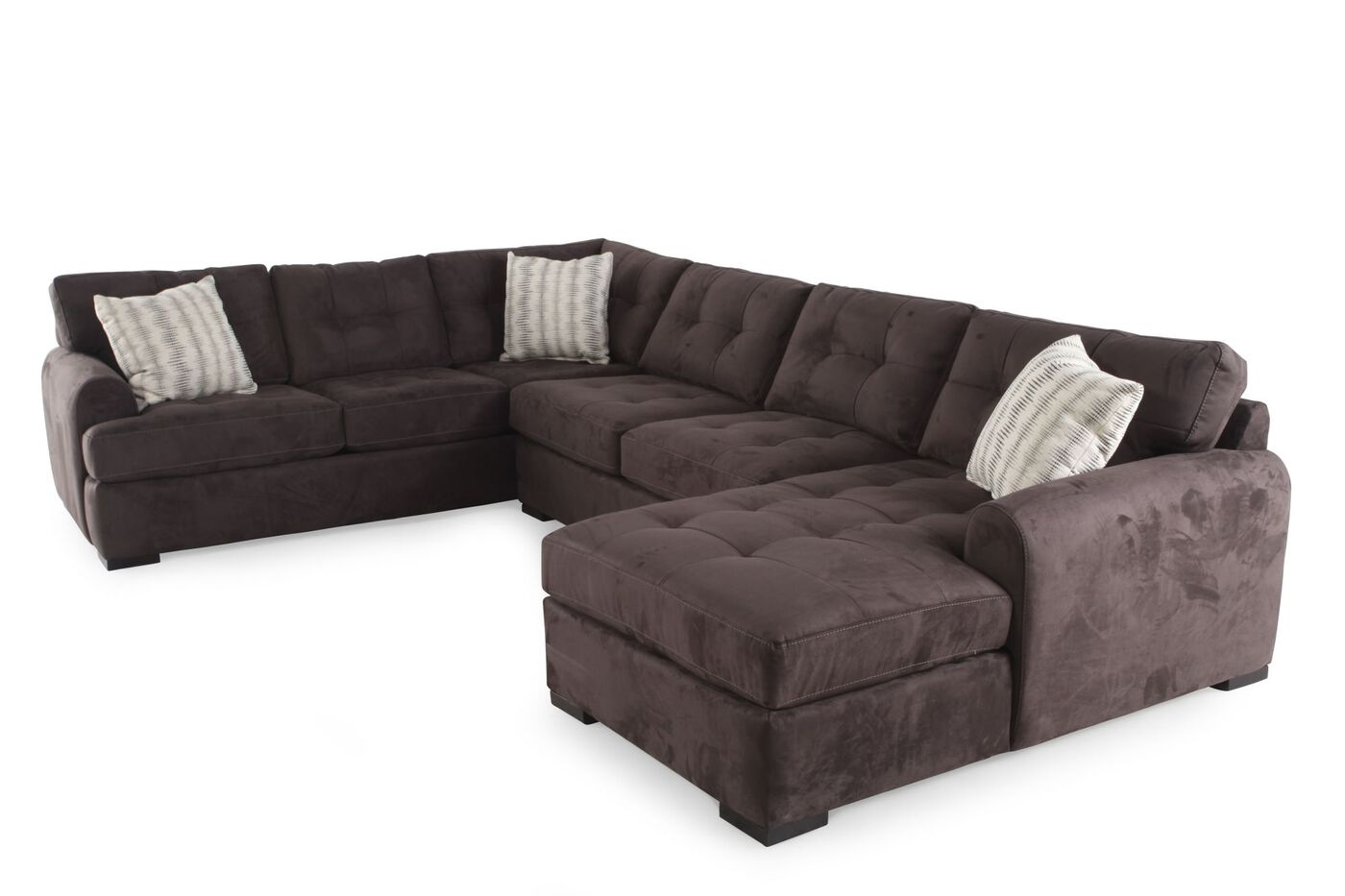 three piece contemporary tufted sectional in gray mathis brothers furniture. Black Bedroom Furniture Sets. Home Design Ideas