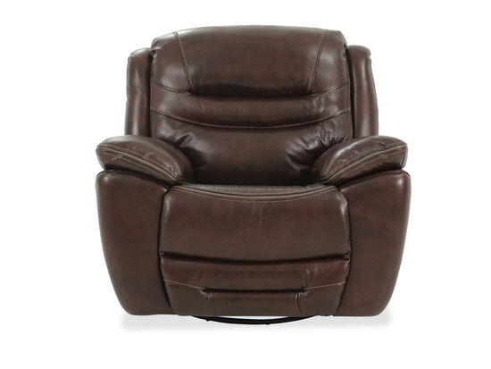 """Leather Pillow Top Arm 45"""" Power Recliner in Brown"""