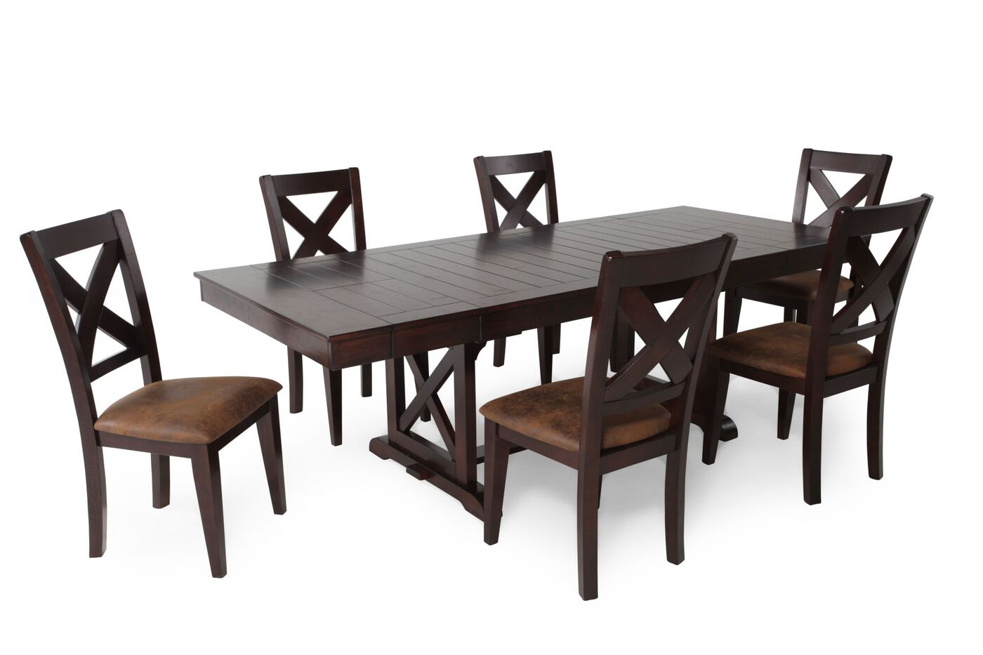 Seven-Piece Rectangle Extension 71\'\' to 95\'\' Dining Set in Dark ...