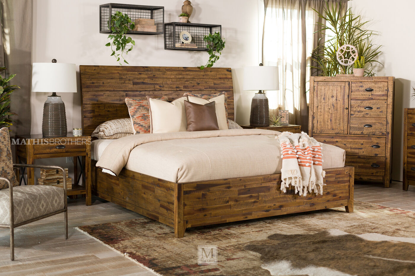 58 Acacia Solid Planked Sleigh Bed In Brown Mathis Brothers Furniture