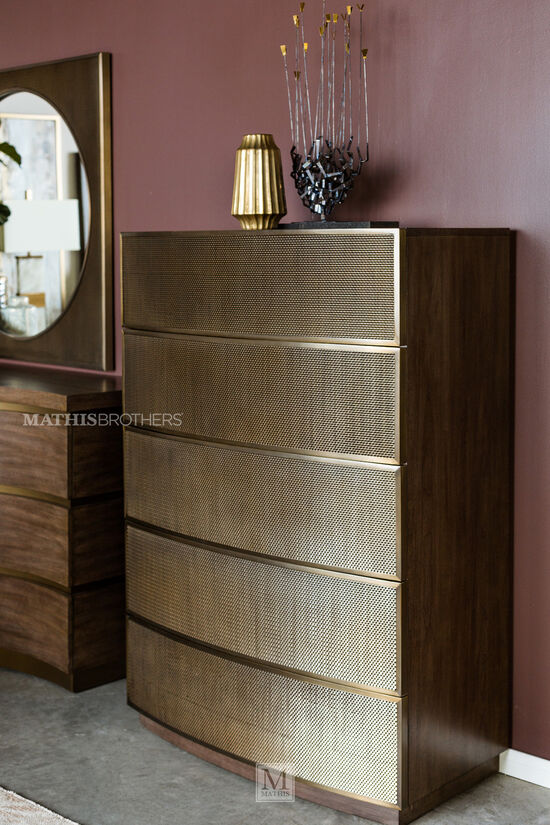 """55"""" Modern Five-Drawer Chest in Tapestry Gold"""