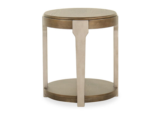 Round Contemporary End Table in Brown