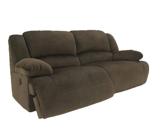 "Microfiber 96"" Reclining Sofa in Chocolate"