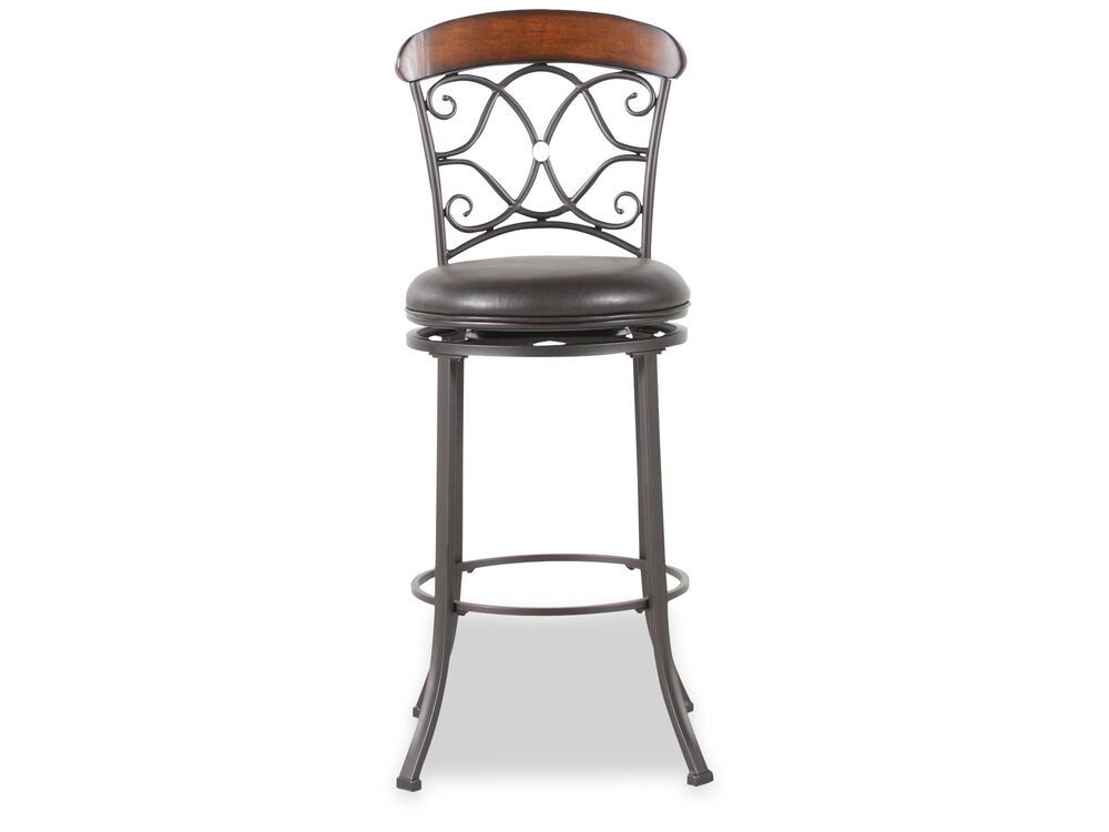 "Transitional 45.5"" Swivel Bar Stool in Dark Gray"