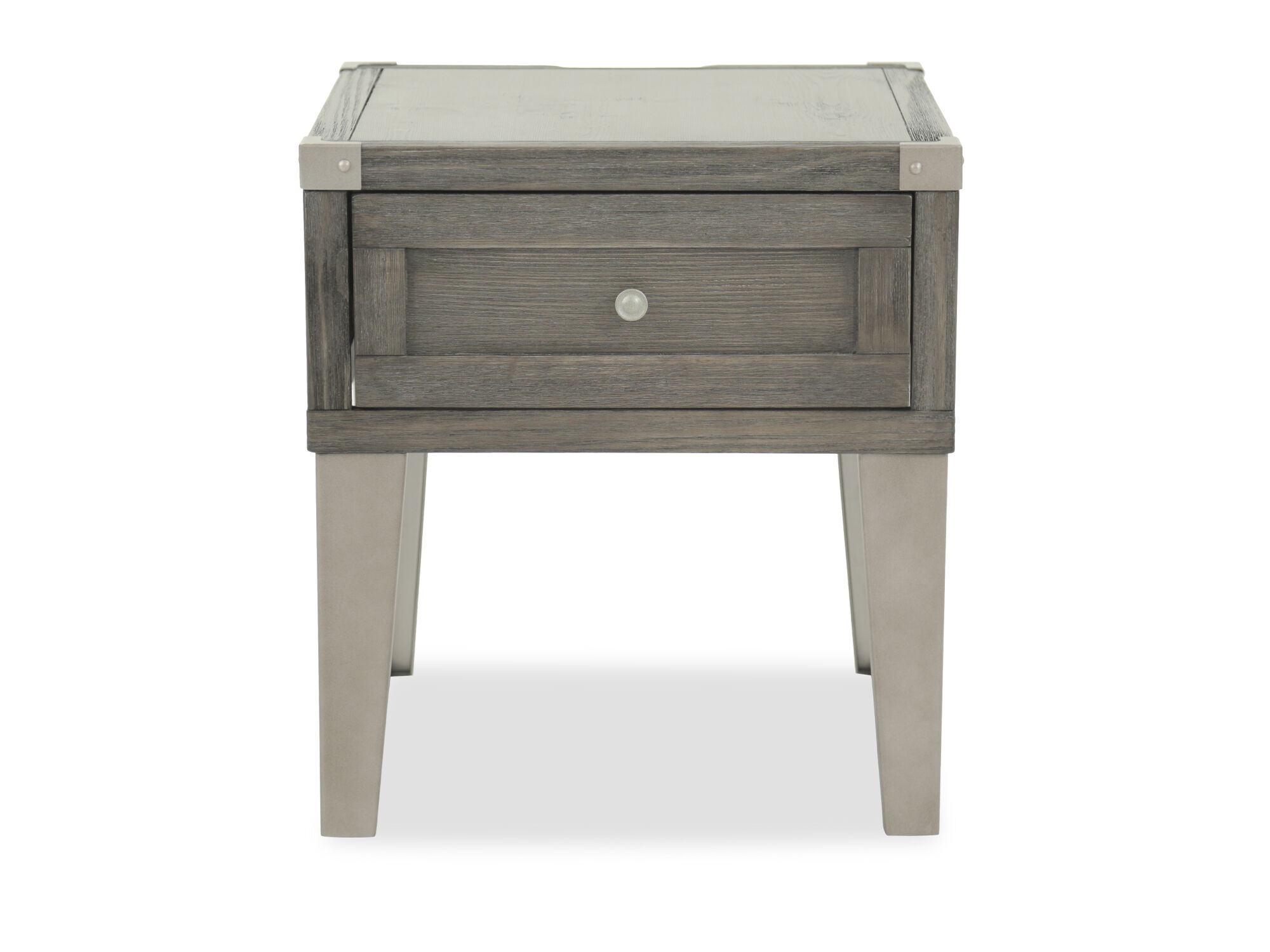 Images Contemporary Weathered End Table With USB Port In Dark Gray