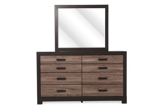 Two-Piece Contemporary Dresser and Mirror in Brown
