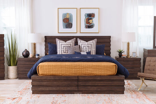 "62"" Transitional King Platform Bed in Brown"