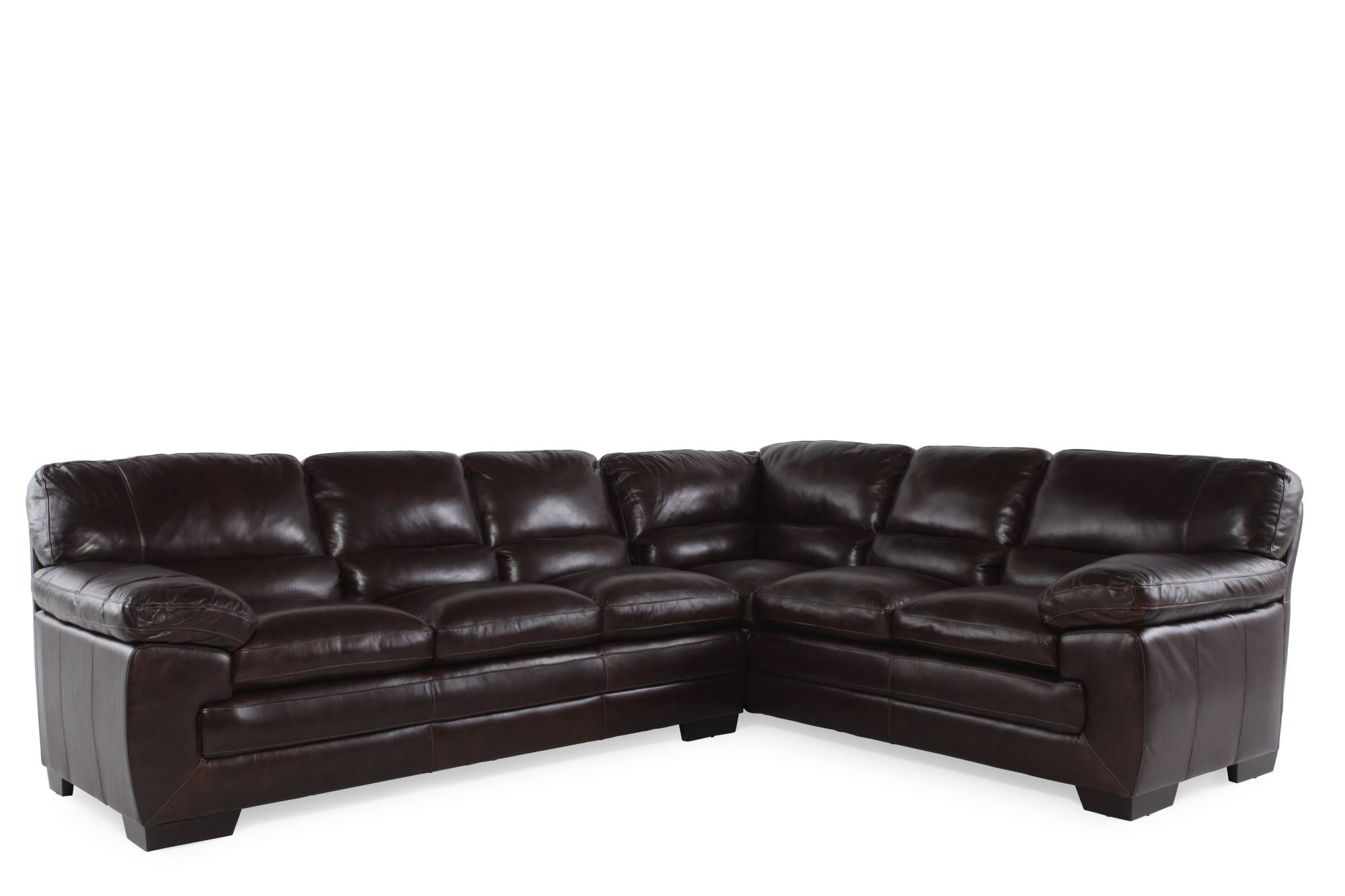 Images Two Piece Leather 96u0026quot; Sectional In Walnut Two Piece Leather  96u0026quot; Sectional In Walnut