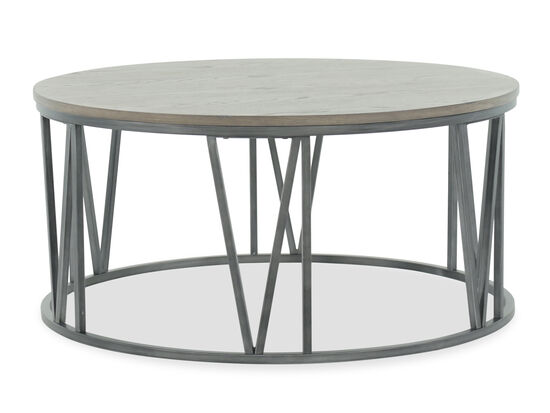 Round Wire-Brushed Casual Cocktail Table in Gray
