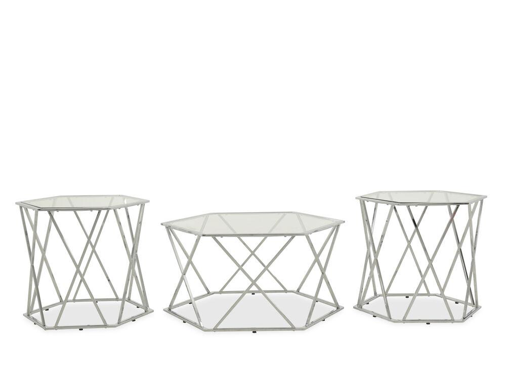 Three-Piece Hexagonal Contemporary Table Set in Silver
