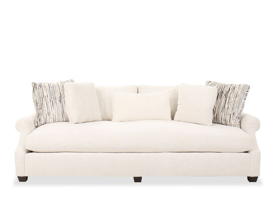 "Contemporary 98"" One Cushion Sofa in Cream"