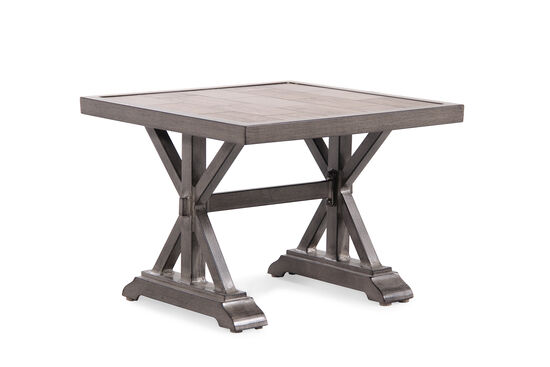 Planked Top Contemporary End Table in Medium Brown