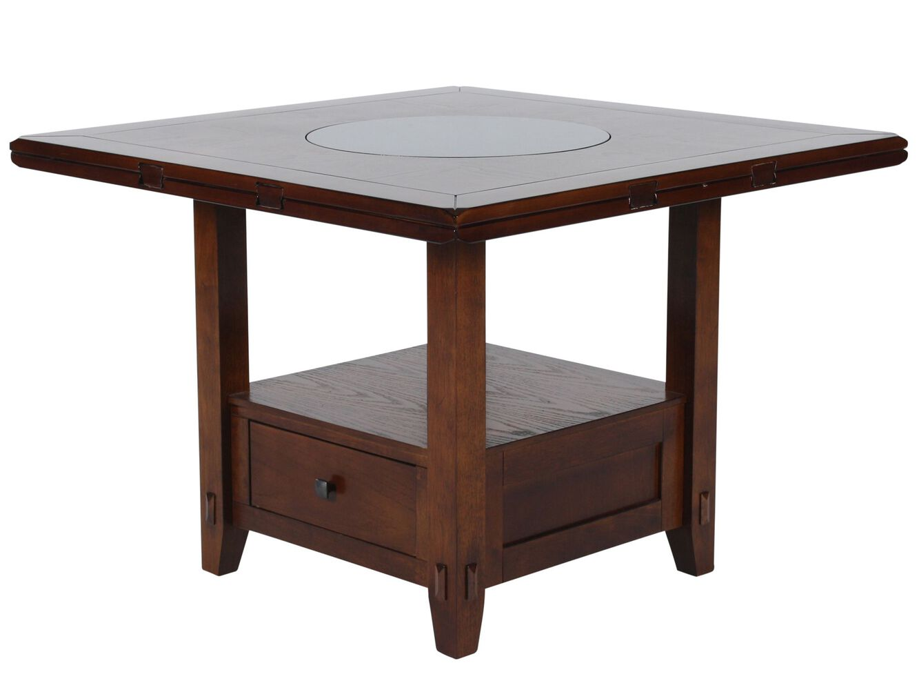 Country To Storage Pedestal Lazy Susan Dining Table In - Distressed square dining table
