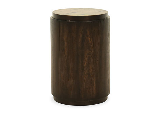 Casual Drum Table in Dark Wood
