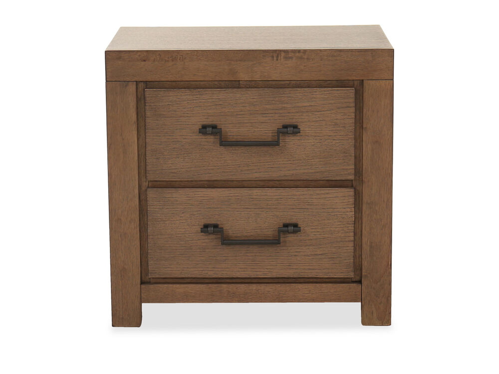 """28"""" Casual Two-Drawer Nightstand in Oak"""