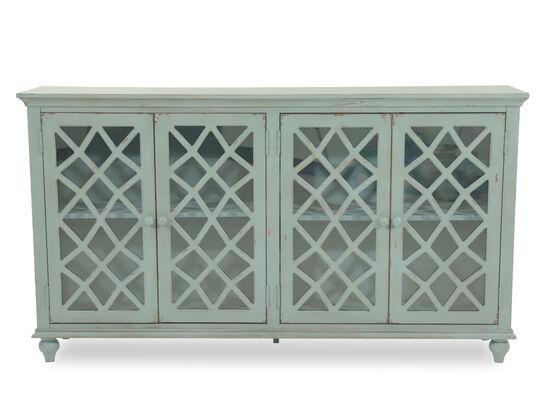 38'' Four-Lattice Door Cottage Accent Cabinet in Teal