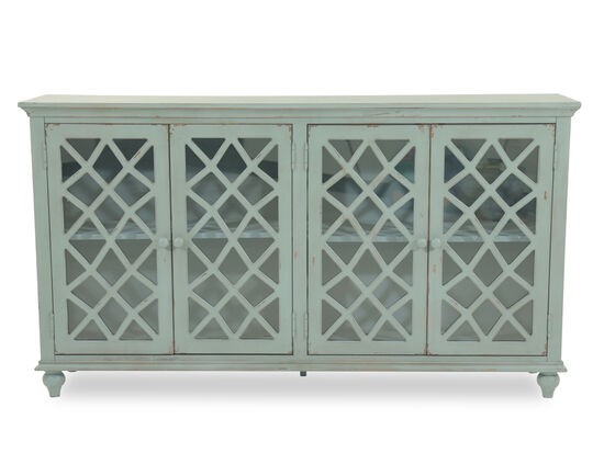 38'' Four-Lattice Door Cottage Accent Cabinet in Teal