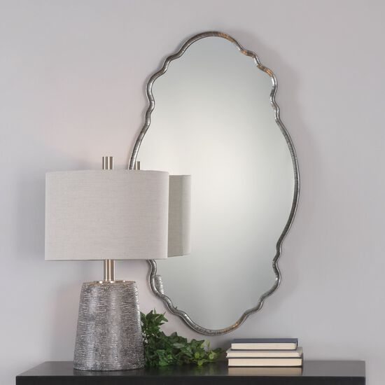 "36"" Hammered Frame Curved Mirror in Burnished Metallic Silver"
