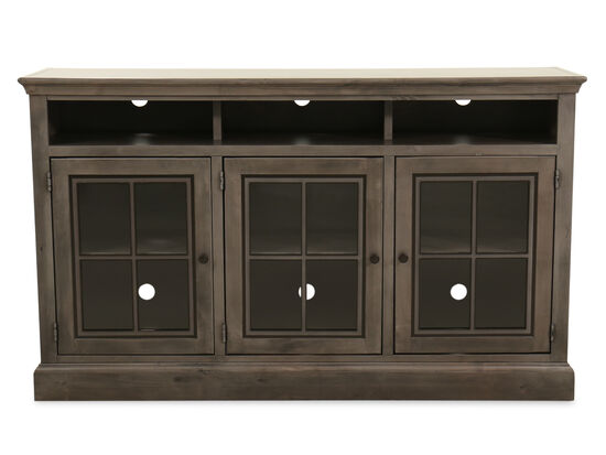 Traditional Three-Door Entertainment Center in Smokey Gray