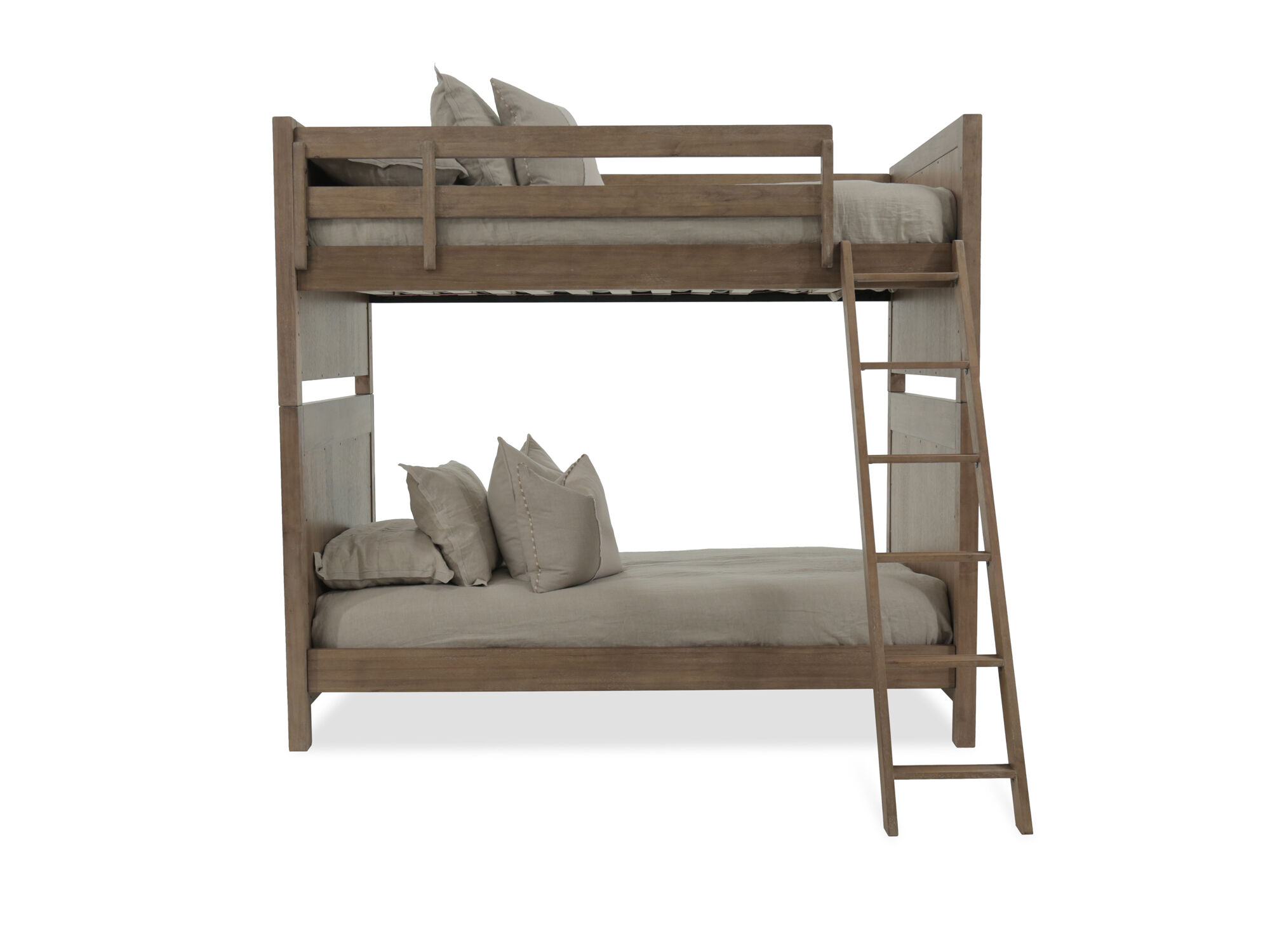 Traditional Twin Bunk Bed With Ladder In Brown Mathis Brothers