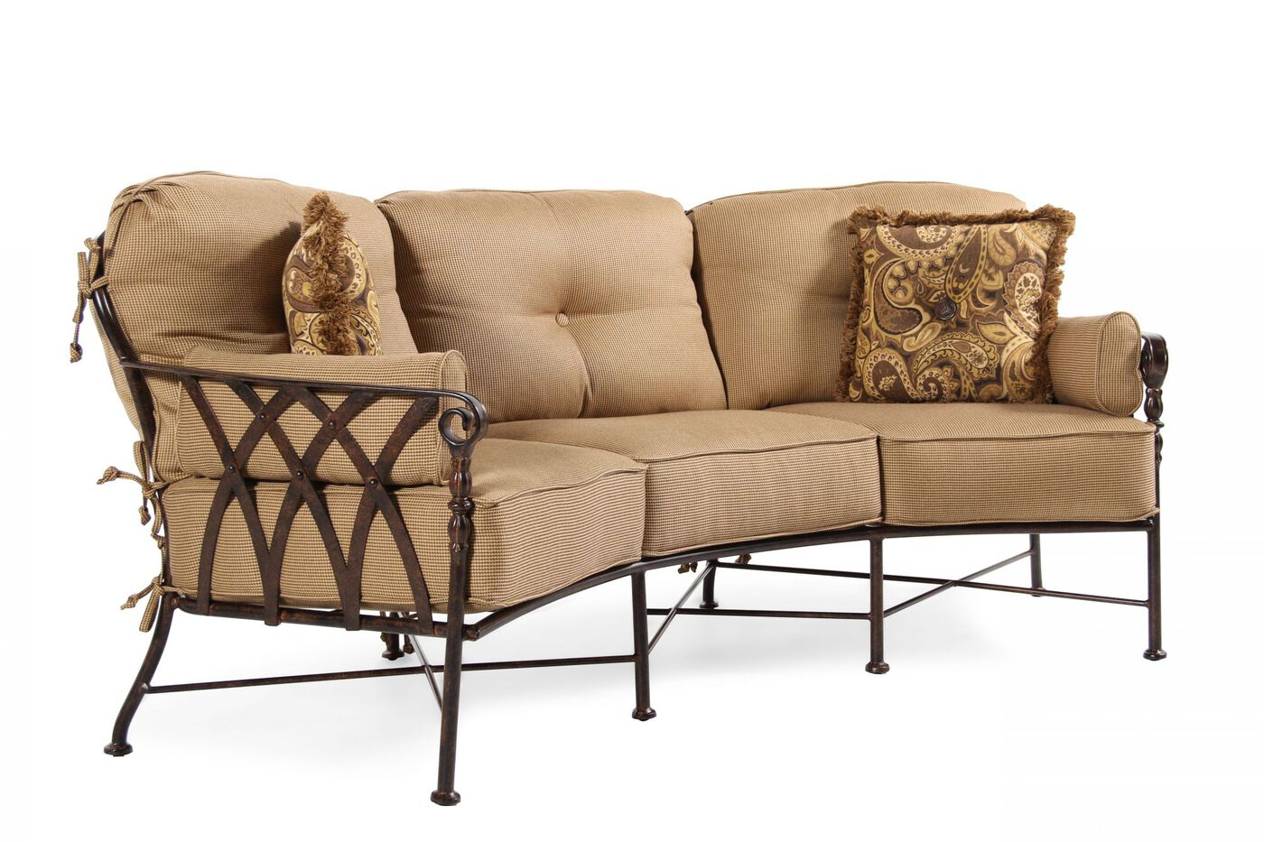Excellent Aluminum Crescent Sofa in Tan | Mathis Brothers Furniture ZG11