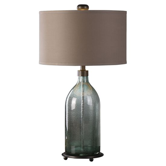 Seeded Glass Table Lamp in Smoke Gray