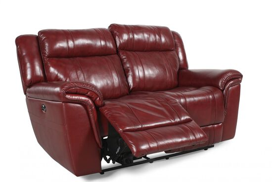 Reclining Contemporary Loveseat in Burgundy