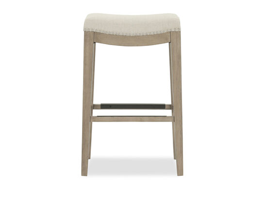 "Nailhead Accented 30"" Backless Bar Stool in Cream"