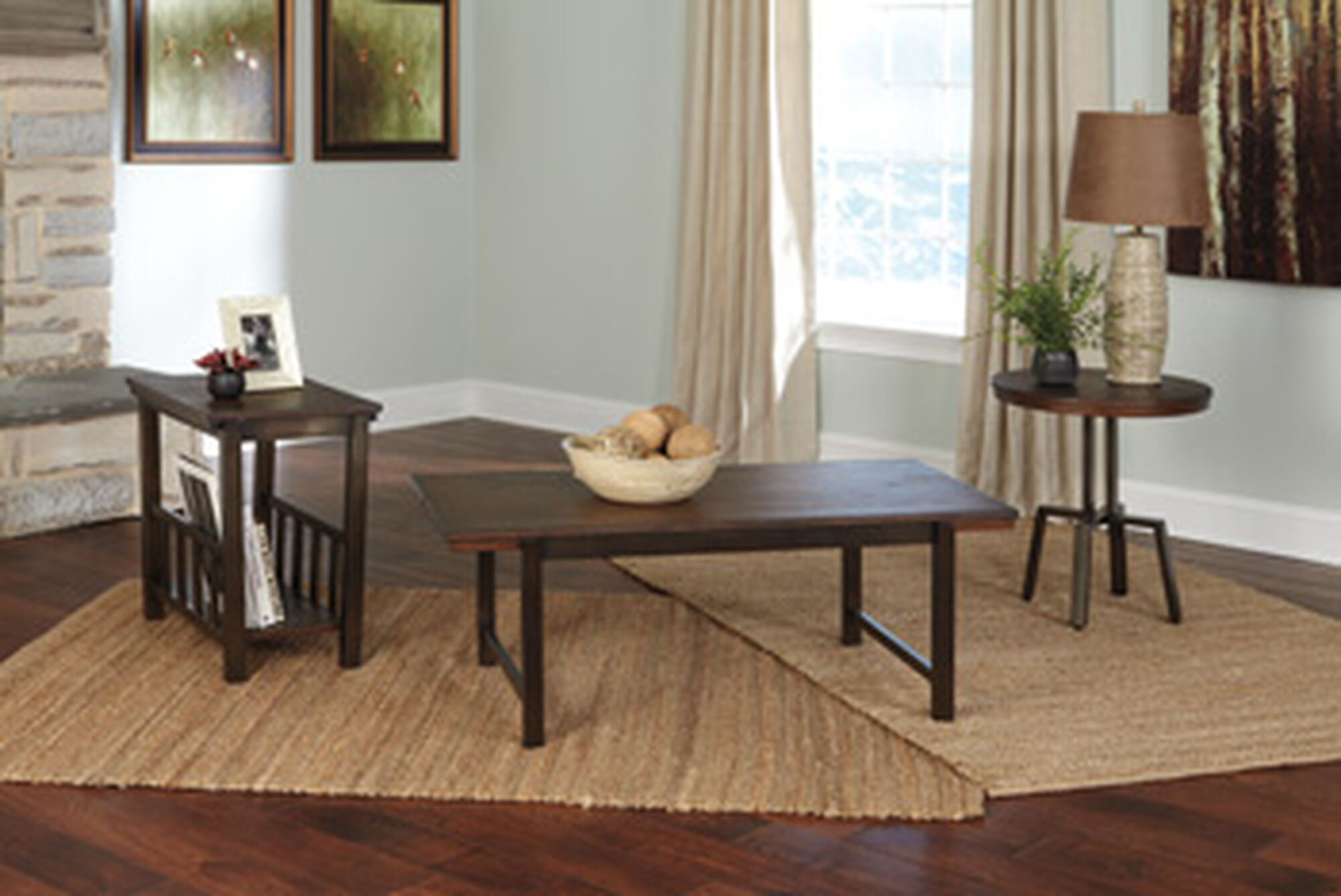 Three piece contemporary accent table set in dark brown - Three piece living room table set ...