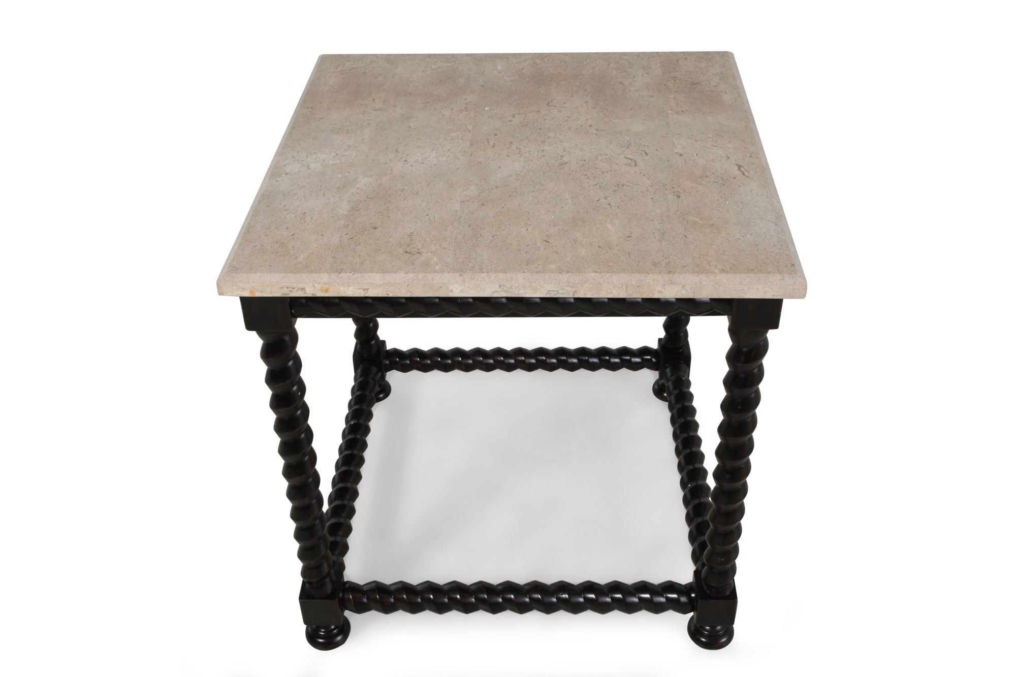 Square Contemporary End Table With Stone Top ...