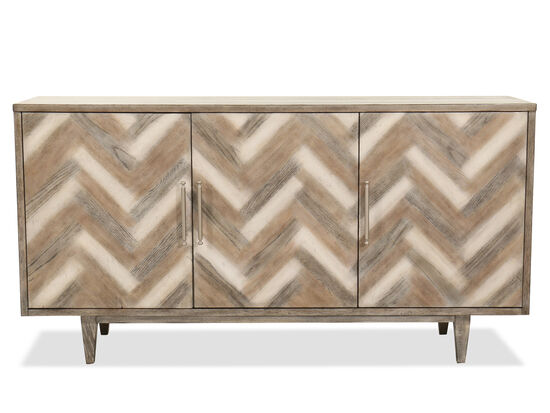 Transitional Chevron-Patterned Credenza
