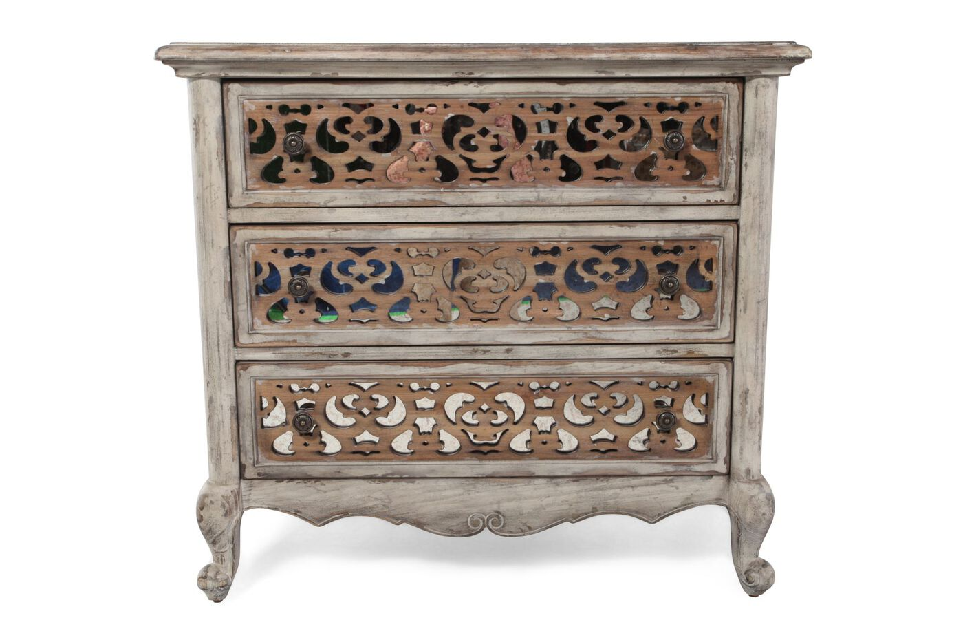 33 Contemporary Solid Wood Three Drawer Fretwork