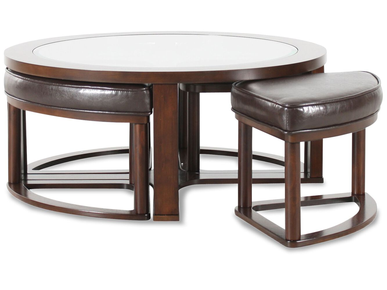 Round Contemporary Cocktail Table In Dark Merlot Mathis Brothers Furniture