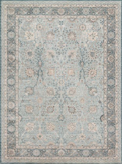 "Traditional 6'-7""x9'-2"" Rug in Lt Blue/Dk Blue"