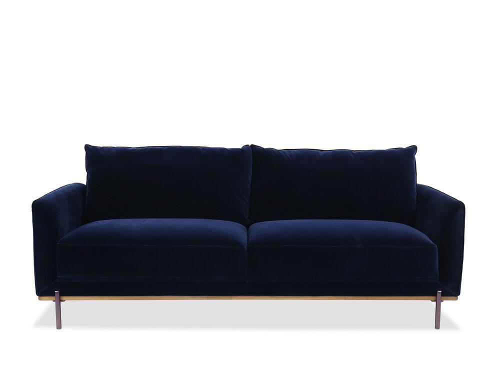 Velvet Sofa In Blue Mathis Brothers