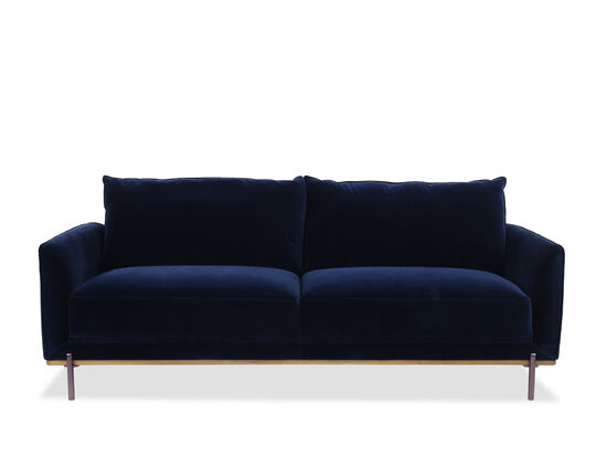 Casual Velvet Sofa in Blue