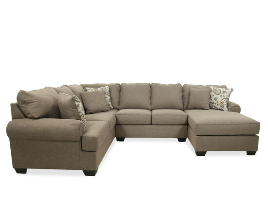 Contemporary Three-Piece Sectional in Pewter