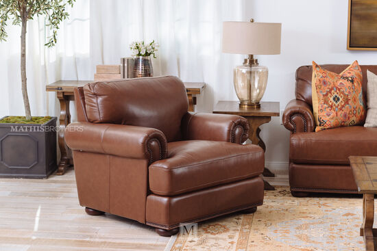 """Nailhead-Accented Leather 44"""" Chair in Cinnamon"""